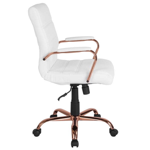 Lowest Price Mid-Back White Leather Executive Swivel Office Chair with Rose Gold Frame and Arms