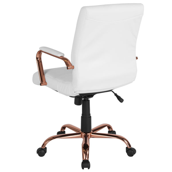 Contemporary Executive Office Chair with Padded Rose Gold Metal Arms White Mid-Back Leather Chair