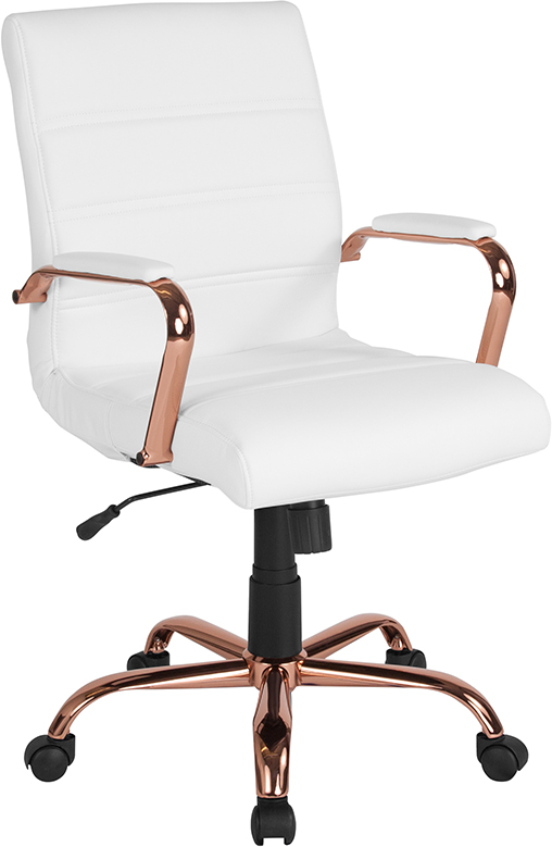 Wholesale Mid-Back White Leather Executive Swivel Office Chair with Rose Gold Frame and Arms