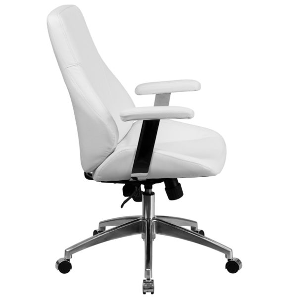 Lowest Price Mid-Back White Leather Smooth Upholstered Executive Swivel Office Chair with Arms