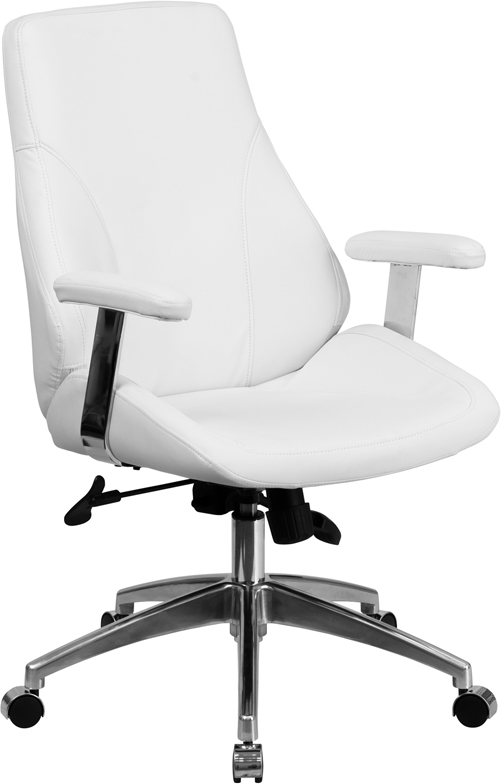 Wholesale Mid-Back White Leather Smooth Upholstered Executive Swivel Office Chair with Arms