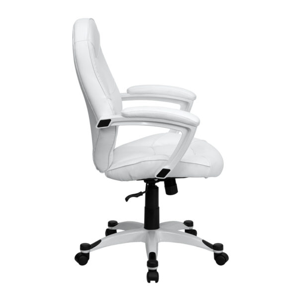 Lowest Price Mid-Back White Leather Tapered Back Executive Swivel Office Chair with White Base and Arms