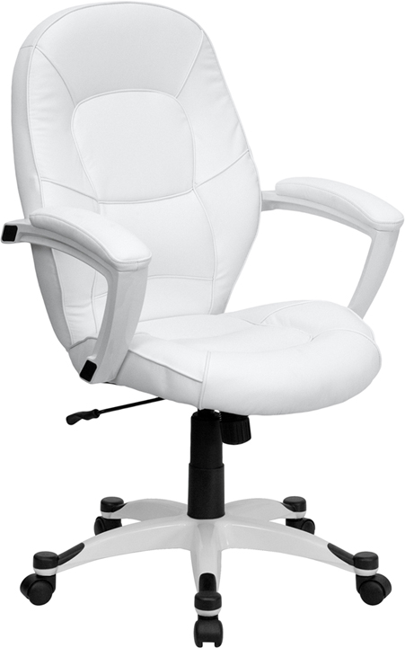 Wholesale Mid-Back White Leather Tapered Back Executive Swivel Office Chair with White Base and Arms