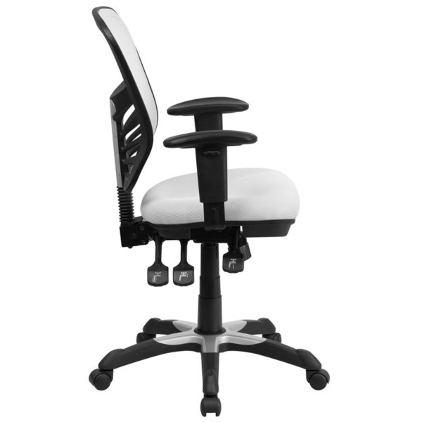 Lowest Price Mid-Back White Mesh Multifunction Executive Swivel Ergonomic Office Chair with Adjustable Arms