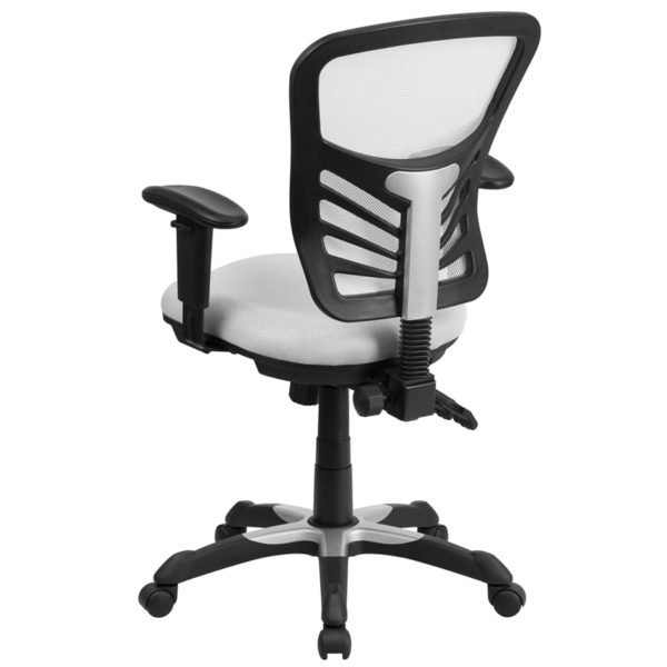 Contemporary Office Chair White Mid-Back Mesh Chair