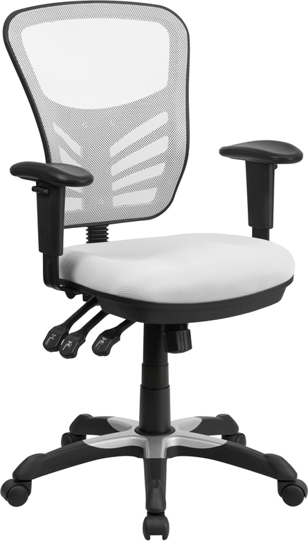 Wholesale Mid-Back White Mesh Multifunction Executive Swivel Ergonomic Office Chair with Adjustable Arms