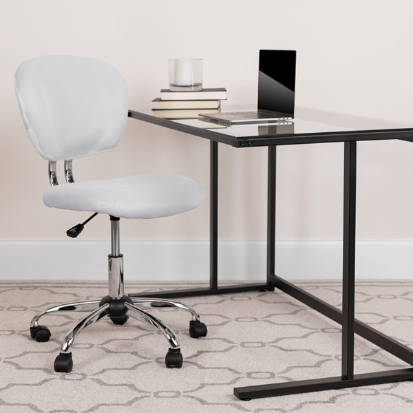 Lowest Price Mid-Back White Mesh Padded Swivel Task Office Chair with Chrome Base
