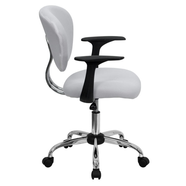 Lowest Price Mid-Back White Mesh Padded Swivel Task Office Chair with Chrome Base and Arms