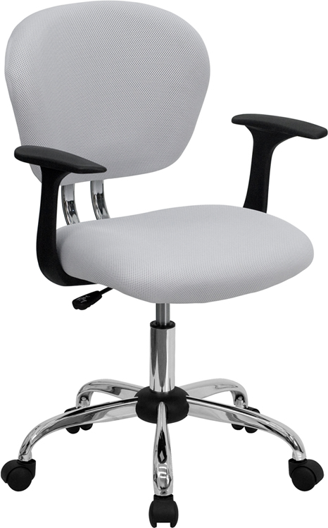 Wholesale Mid-Back White Mesh Padded Swivel Task Office Chair with Chrome Base and Arms