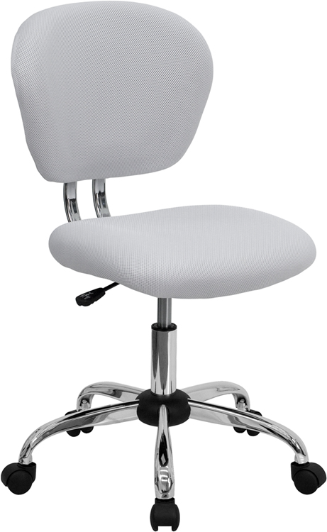 Wholesale Mid-Back White Mesh Padded Swivel Task Office Chair with Chrome Base