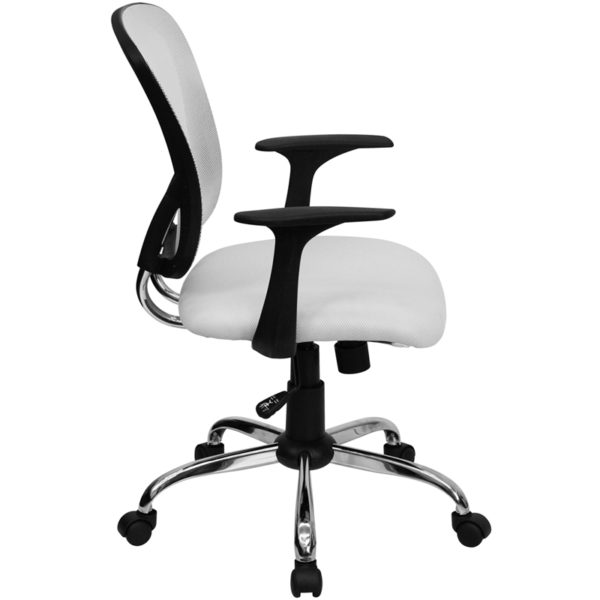 Lowest Price Mid-Back White Mesh Swivel Task Office Chair with Chrome Base and Arms