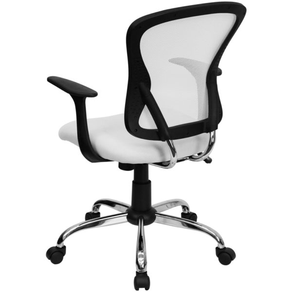 Contemporary Task Office Chair White Mid-Back Task Chair