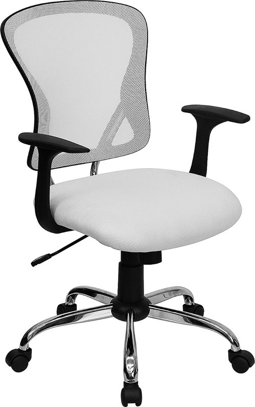 Wholesale Mid-Back White Mesh Swivel Task Office Chair with Chrome Base and Arms