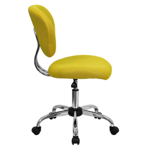 Lowest Price Mid-Back Yellow Mesh Padded Swivel Task Office Chair with Chrome Base
