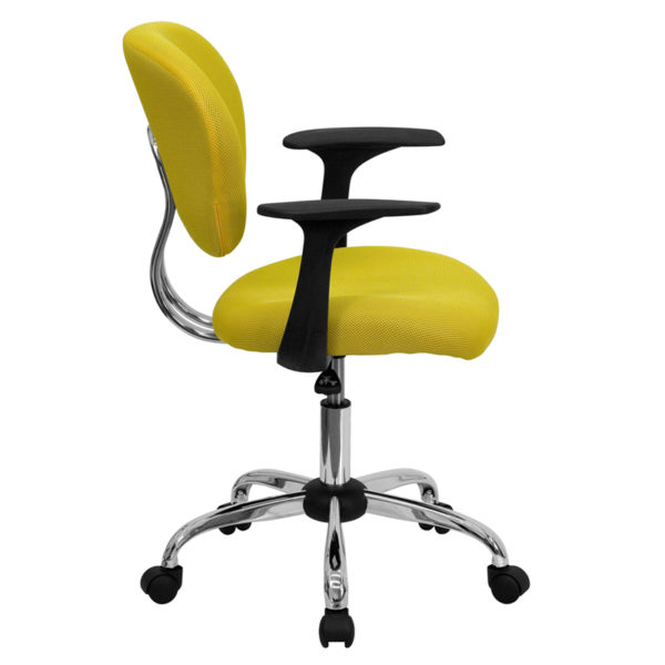 Lowest Price Mid-Back Yellow Mesh Padded Swivel Task Office Chair with Chrome Base and Arms