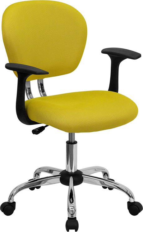 Wholesale Mid-Back Yellow Mesh Padded Swivel Task Office Chair with Chrome Base and Arms