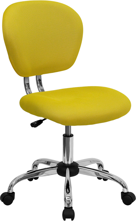 Wholesale Mid-Back Yellow Mesh Padded Swivel Task Office Chair with Chrome Base