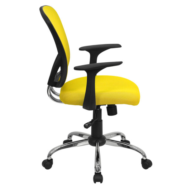 Lowest Price Mid-Back Yellow Mesh Swivel Task Office Chair with Chrome Base and Arms