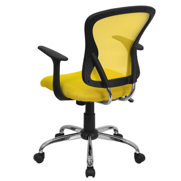 Contemporary Task Office Chair Yellow Mid-Back Task Chair