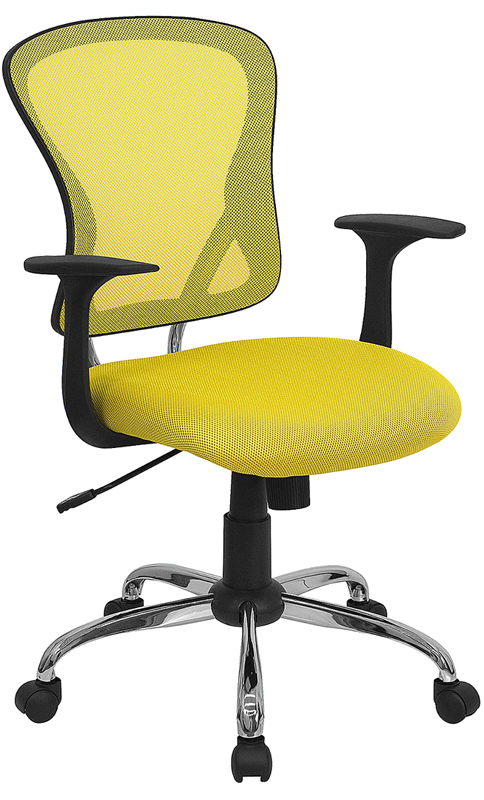 Wholesale Mid-Back Yellow Mesh Swivel Task Office Chair with Chrome Base and Arms