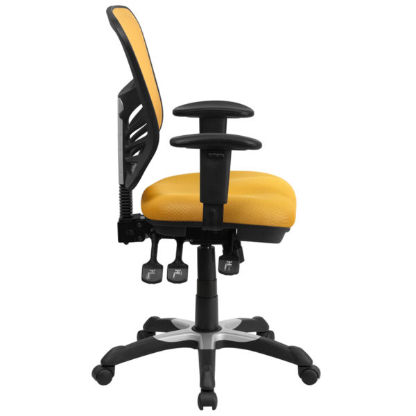Lowest Price Mid-Back Yellow-Orange Mesh Multifunction Executive Swivel Ergonomic Office Chair with Adjustable Arms