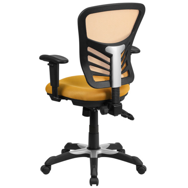 Contemporary Office Chair Yellow-Orange Mid-Back Chair