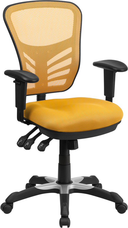 Wholesale Mid-Back Yellow-Orange Mesh Multifunction Executive Swivel Ergonomic Office Chair with Adjustable Arms