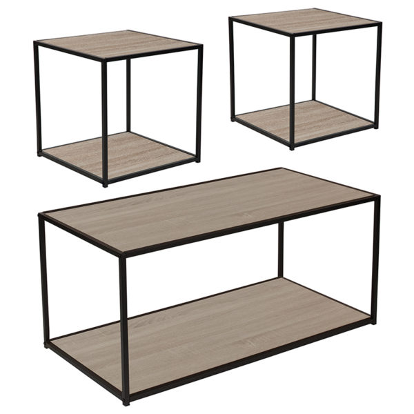 Wholesale Midtown Collection 3 Piece Coffee and End Table Set in Sonoma Oak Wood Grain Finish and Black Metal Frames