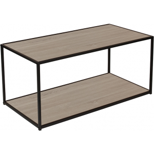 Wholesale Midtown Collection Sonoma Oak Wood Grain Finish Coffee Table with Black Metal Frame
