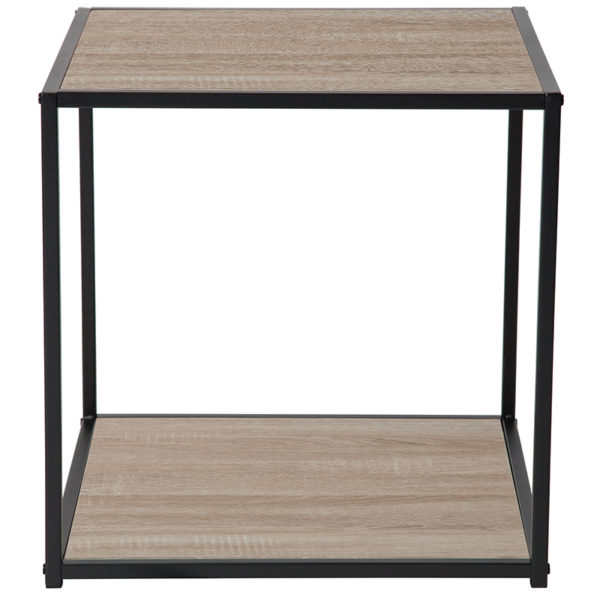 Lowest Price Midtown Collection Sonoma Oak Wood Grain Finish End Table with Black Metal Frame