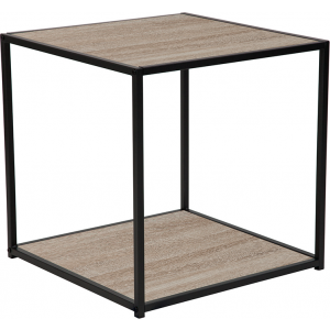 Wholesale Midtown Collection Sonoma Oak Wood Grain Finish End Table with Black Metal Frame
