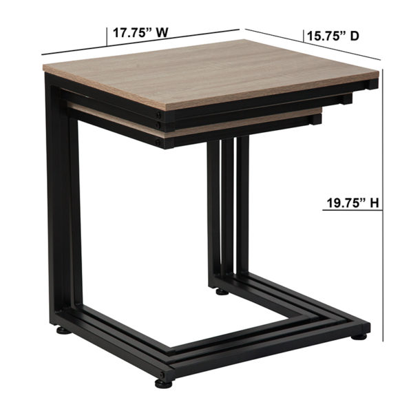 Lowest Price Midtown Collection Sonoma Oak Wood Grain Finish Nesting Tables with Black Metal Cantilever Base