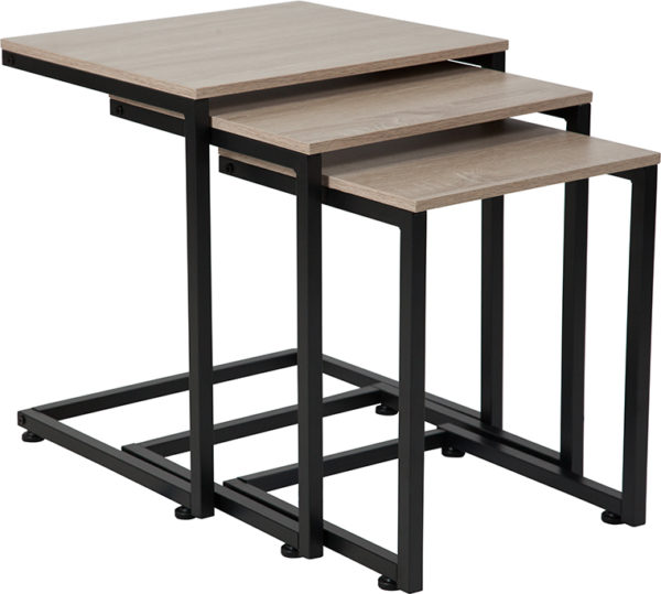 Wholesale Midtown Collection Sonoma Oak Wood Grain Finish Nesting Tables with Black Metal Cantilever Base