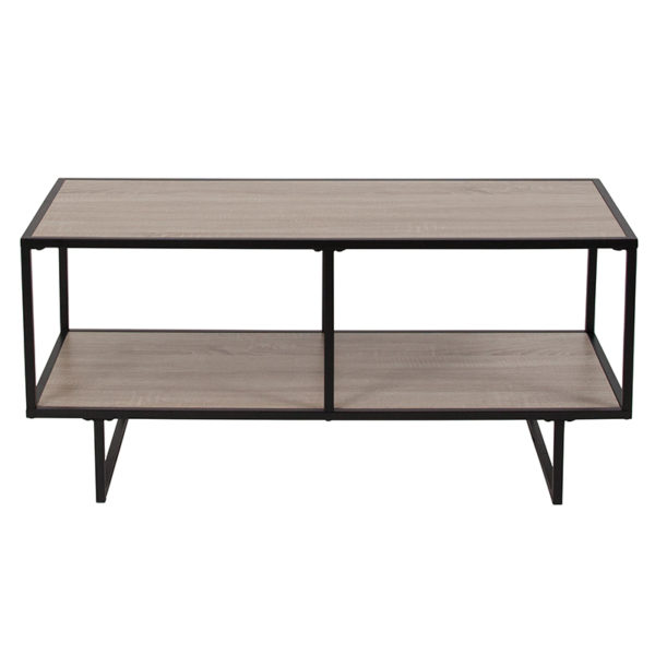 Lowest Price Midtown Collection Sonoma Oak Wood Grain Finish TV Stand with Black Metal Frame