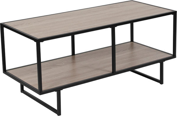 Wholesale Midtown Collection Sonoma Oak Wood Grain Finish TV Stand with Black Metal Frame