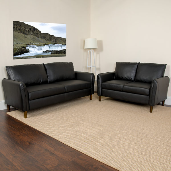 Lowest Price Milton Park Upholstered Plush Pillow Back Loveseat and Sofa Set in Black Leather