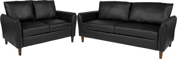 Wholesale Milton Park Upholstered Plush Pillow Back Loveseat and Sofa Set in Black Leather
