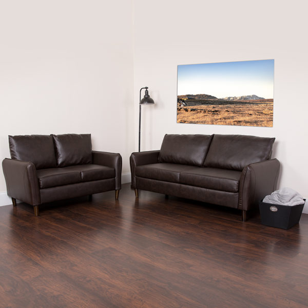 Lowest Price Milton Park Upholstered Plush Pillow Back Loveseat and Sofa Set in Brown Leather