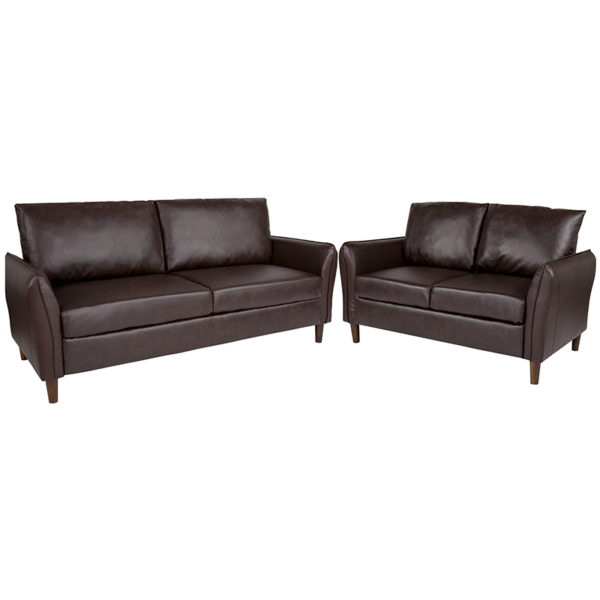 Wholesale Milton Park Upholstered Plush Pillow Back Loveseat and Sofa Set in Brown Leather