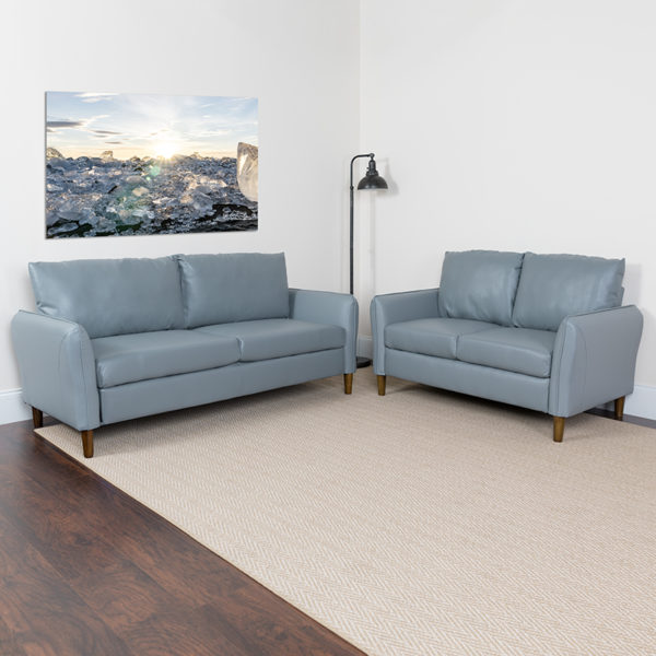 Lowest Price Milton Park Upholstered Plush Pillow Back Loveseat and Sofa Set in Gray Leather