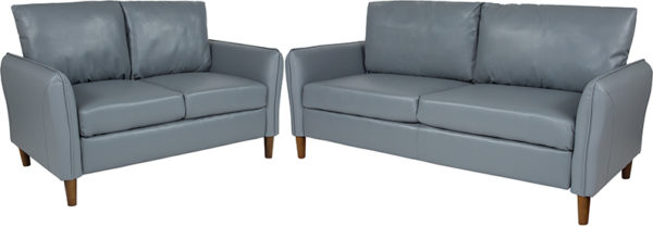 Wholesale Milton Park Upholstered Plush Pillow Back Loveseat and Sofa Set in Gray Leather