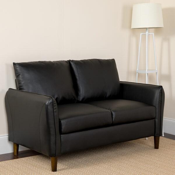 Lowest Price Milton Park Upholstered Plush Pillow Back Loveseat in Black Leather