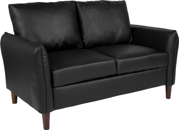 Wholesale Milton Park Upholstered Plush Pillow Back Loveseat in Black Leather