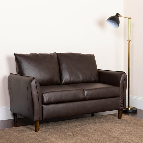 Lowest Price Milton Park Upholstered Plush Pillow Back Loveseat in Brown Leather