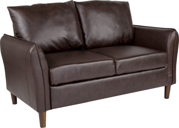 Wholesale Milton Park Upholstered Plush Pillow Back Loveseat in Brown Leather