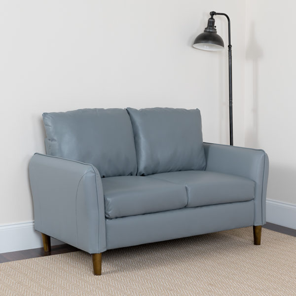 Lowest Price Milton Park Upholstered Plush Pillow Back Loveseat in Gray Leather