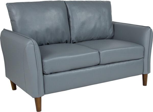 Wholesale Milton Park Upholstered Plush Pillow Back Loveseat in Gray Leather