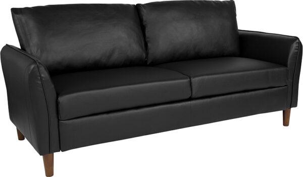 Wholesale Milton Park Upholstered Plush Pillow Back Sofa in Black Leather