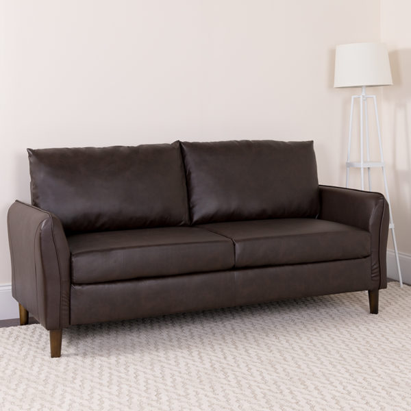 Lowest Price Milton Park Upholstered Plush Pillow Back Sofa in Brown Leather