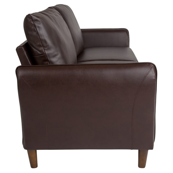 Contemporary Style Brown Leather Sofa